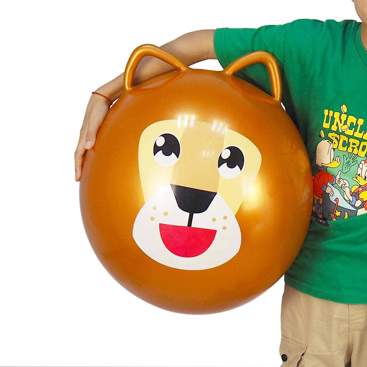 YHSBUY Space Hopper Ball for Kids 3-6,Lion Bouncy Ball with Handle,Space Hopper Ball 18 Include Pump
