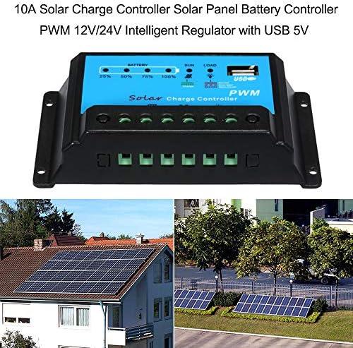 KKmoon Solar-Laderegler 10 A, Regler für Solarpanel, Intelligente PWM 12 V / 24 V mit USB 5 V