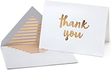 Luxury Gold Foil Letterpress Thank You Cards and Gray Envelopes 20 Pack - Opie's Paper Company
