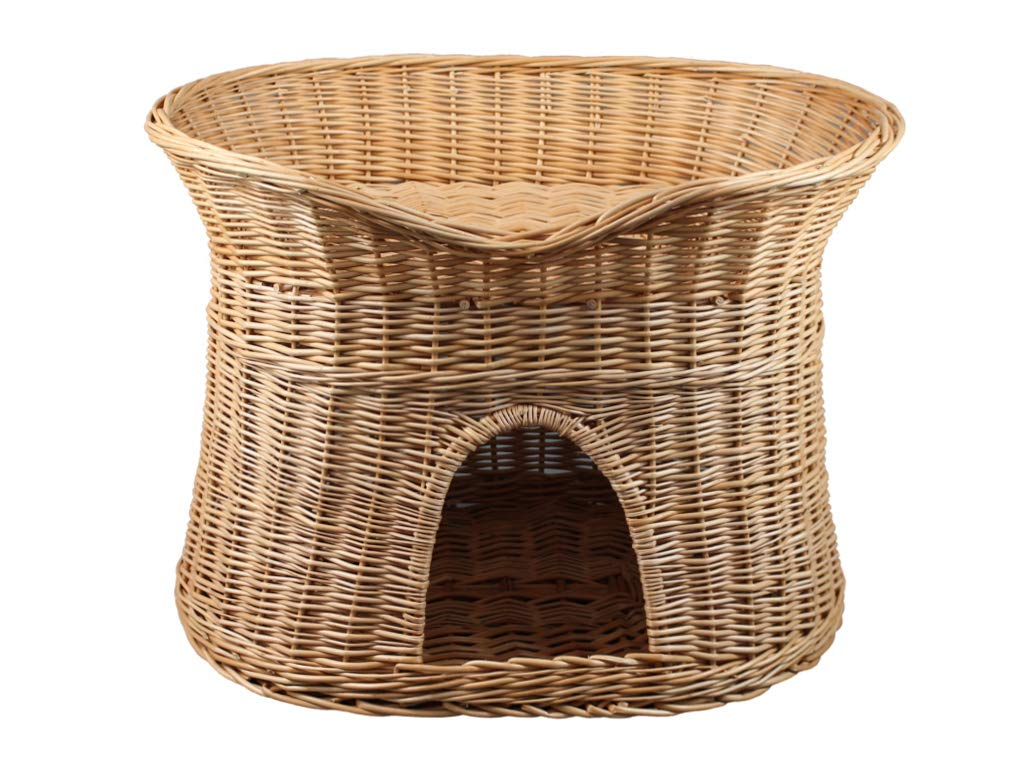 L Damian-Wiklina Wicker Two Tier Pet Pod Cat Dog Bed Basket – Natural wicker colour – Size Large (without pillows)