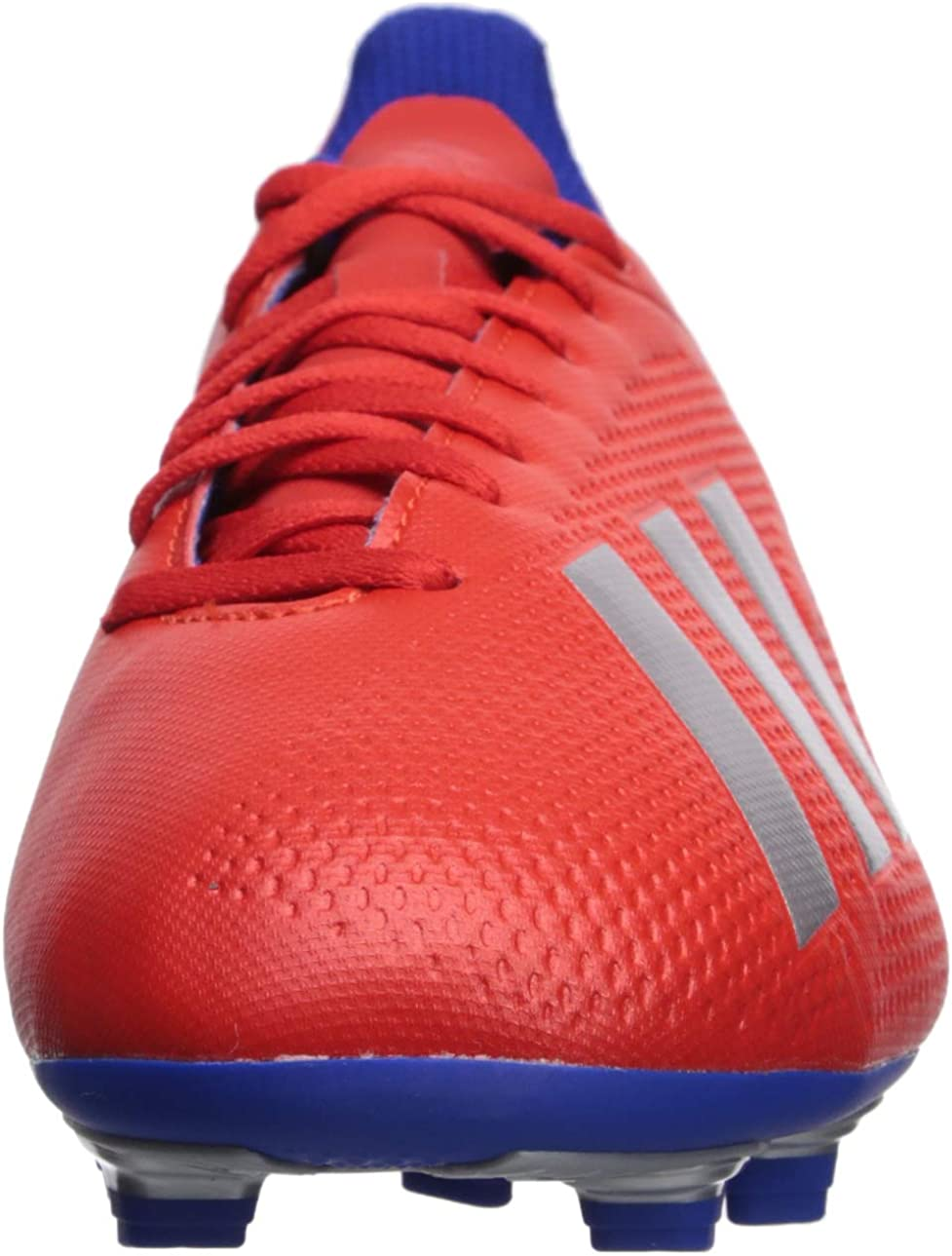 adidas Men's X 18.4 Firm Ground Soccer Shoe Active Red/Silver Metallic/Bold Blue