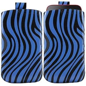 iTALKonline AZUL NEGRO CEBRA Calidad PU de cuero antideslizante funda de protección bolsa con pestaña para Samsung i8530 Galaxy Beam