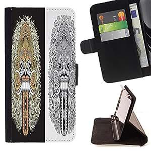 King Case - FOR Apple Iphone 5C - composed by ear - Prima caja de la PU billetera de cuero con ranuras para tarjetas, efectivo Compartimiento desmontable y correa para la mu?eca