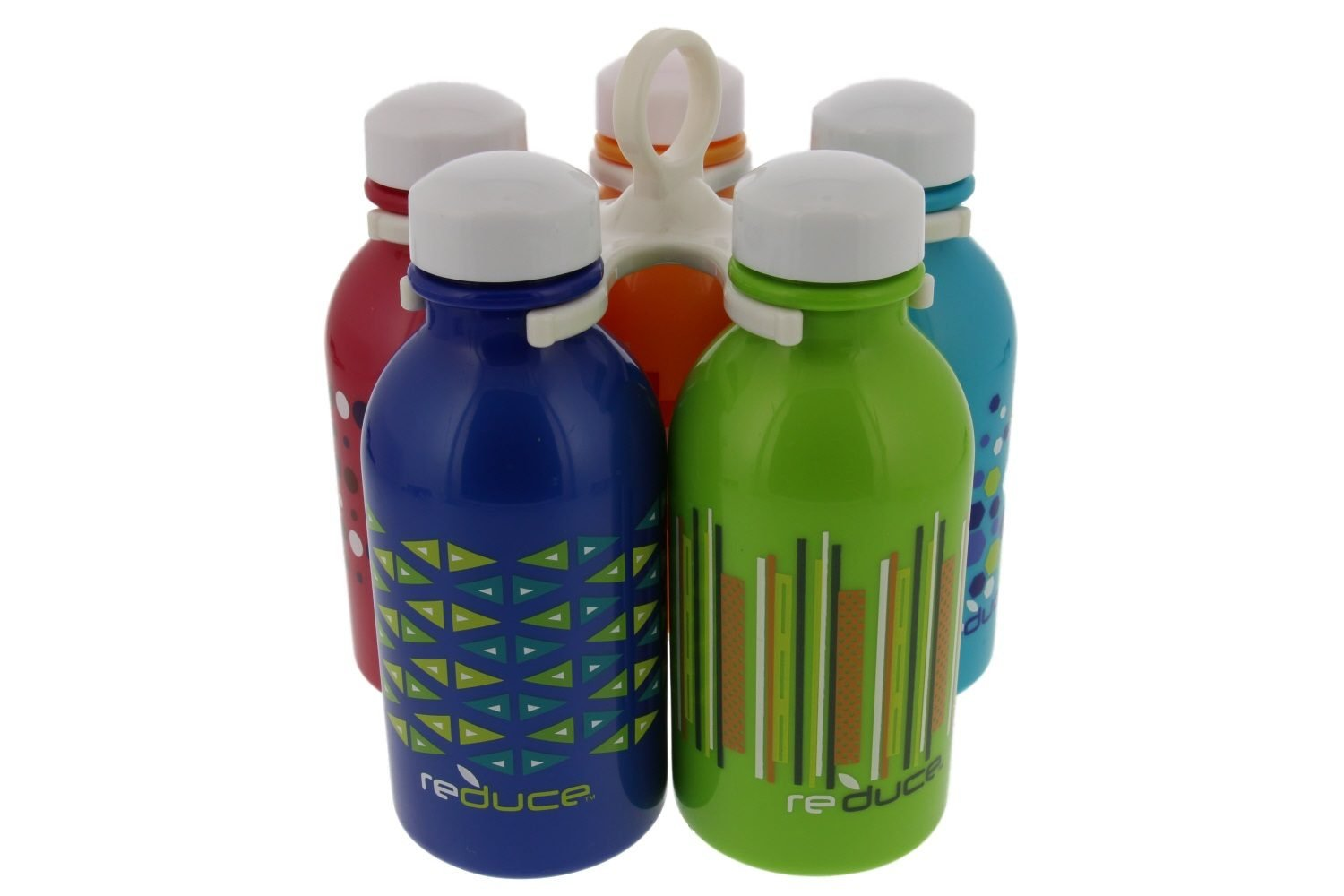 reduce WaterWeek Kids Reusable Water Bottle Set with Carry Carousel – 5 Pack, 10oz – BPA-Free, Leak Proof Twist Off Cap – Assorted Colors - Perfect for Lunchboxes