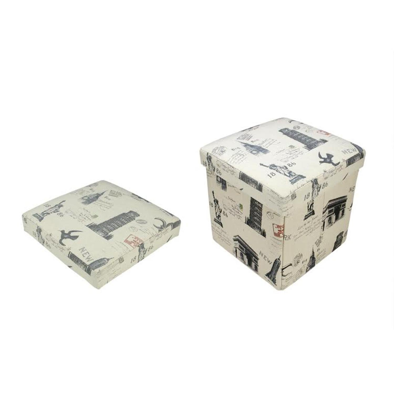 Northlight 12'' Decorative Vintage-Style New York Travel Inspired Collapsible Sqaure Storage Ottoman