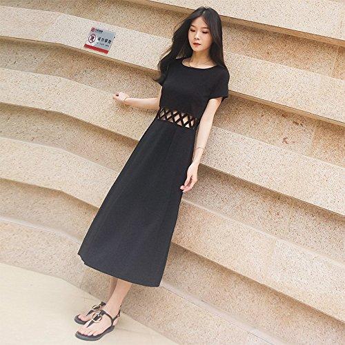 Robe Sexy Jupe Robes M MiGMV Longue Retro Femme Jupe t Noire Black dHqxwIR