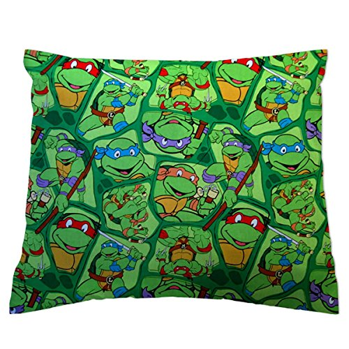 SheetWorld Twin Pillow Case, 100% Cotton Woven 20 x 26, Ninja Turtles, Made in USA ()