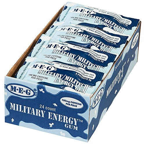 MEG - Military Energy Gum | 100mg of Caffeine Per Piece + Increase Energy + Boost Physical Performance + Arctic Mint 24 Pack (120 Count)
