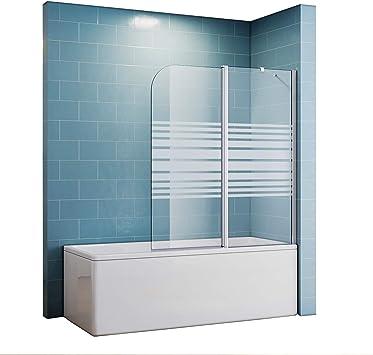 Duschtrennwand Fur Badewanne 120x140 Teilsatiniert Duschwand Amazon De Baumarkt