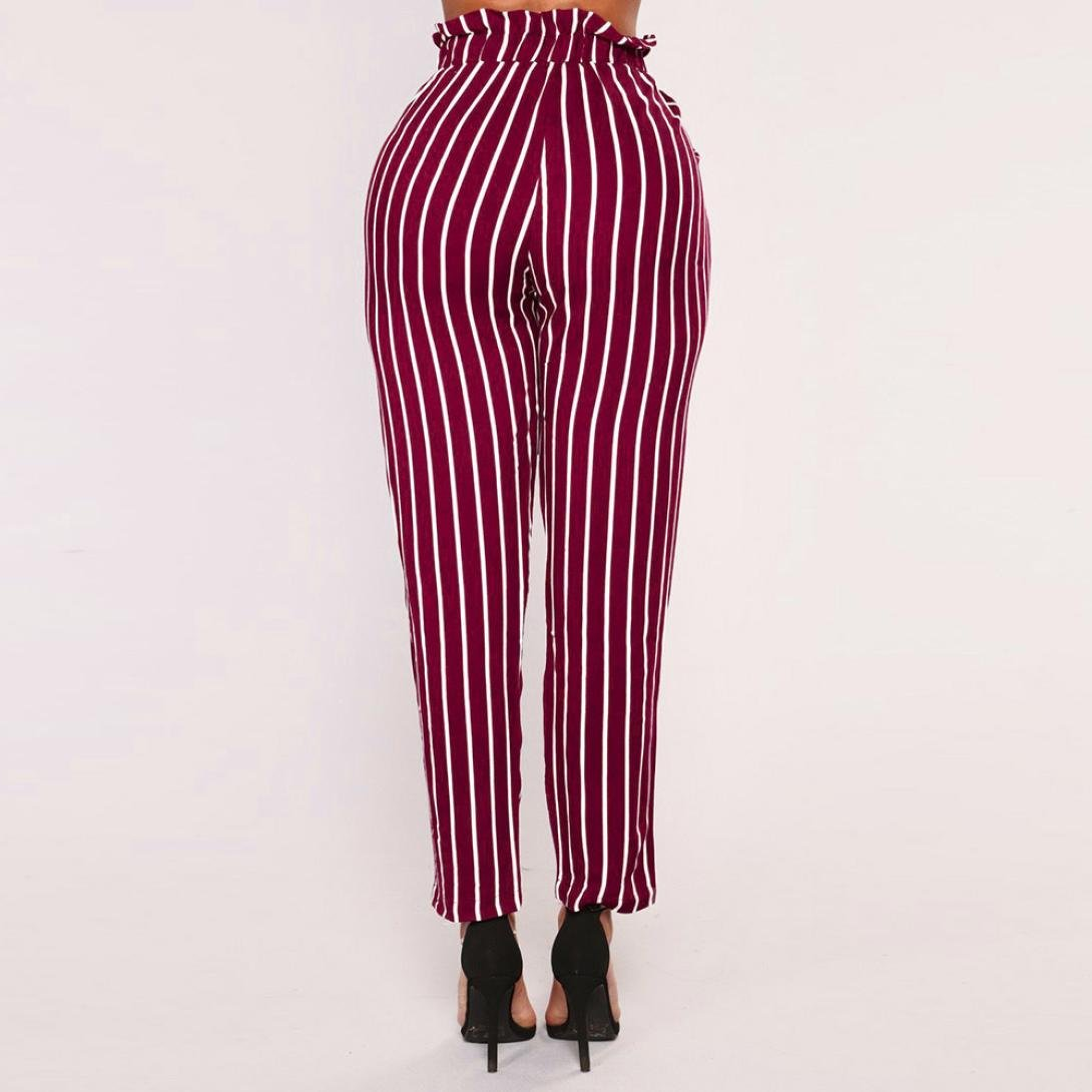 Amazon.com: Dingji Womens Harem Pants, Striped High Waist Women Bowtie Elastic Waist Casual Pants: Clothing