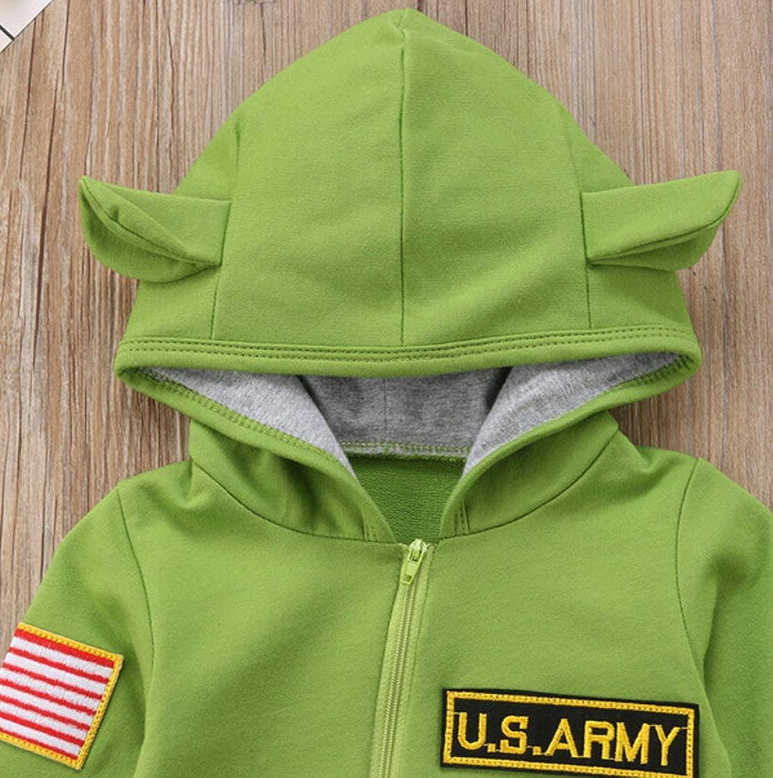 unniful Newborn Baby Cute Long Sleeve Zipper Romper Toddler Long Pants Jumpsuit Bodysuits