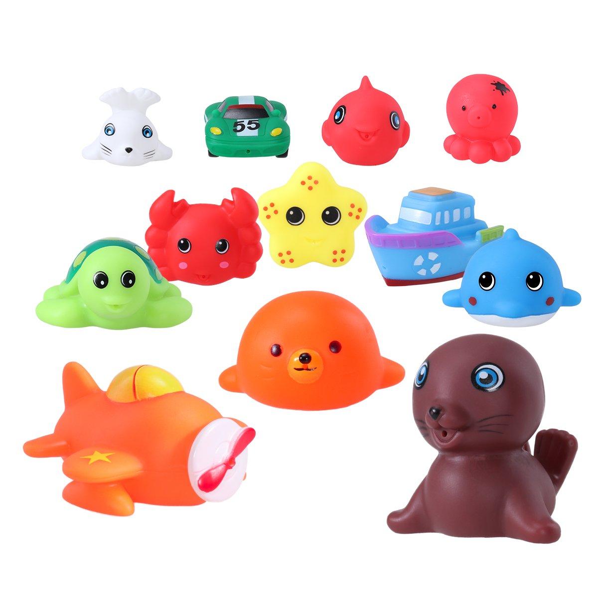 TOYMYTOY Bagno di Animali marini Giocattoli di Gomma spruzzare Vasca da Bagno Giocattoli educativi 12-Pack