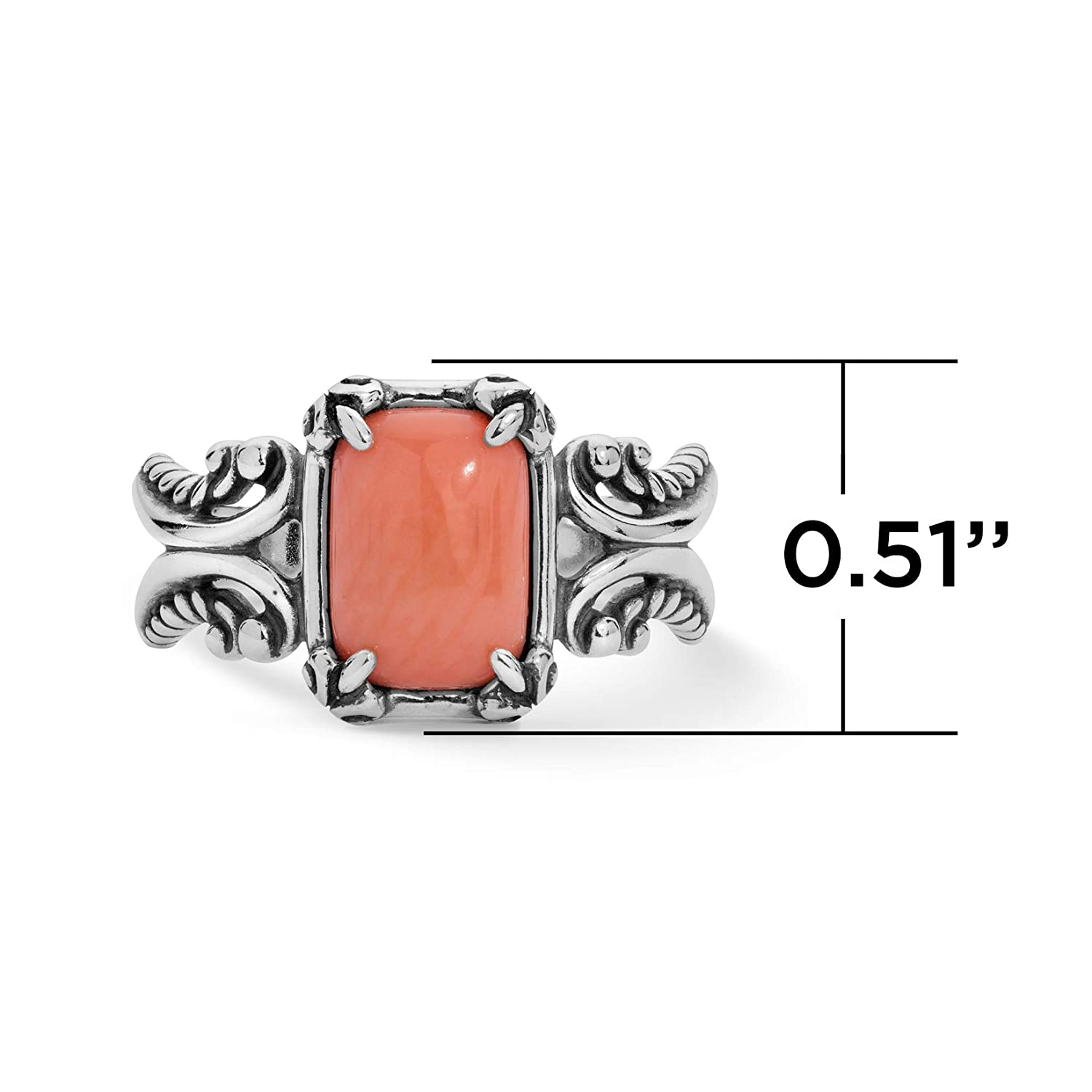 Green Varacite or Salmon Coral Gemstone Sizes 5 To 10 Filigree Scroll Ring Carolyn Pollack Sterling Silver Gold or White Mother of Pearl