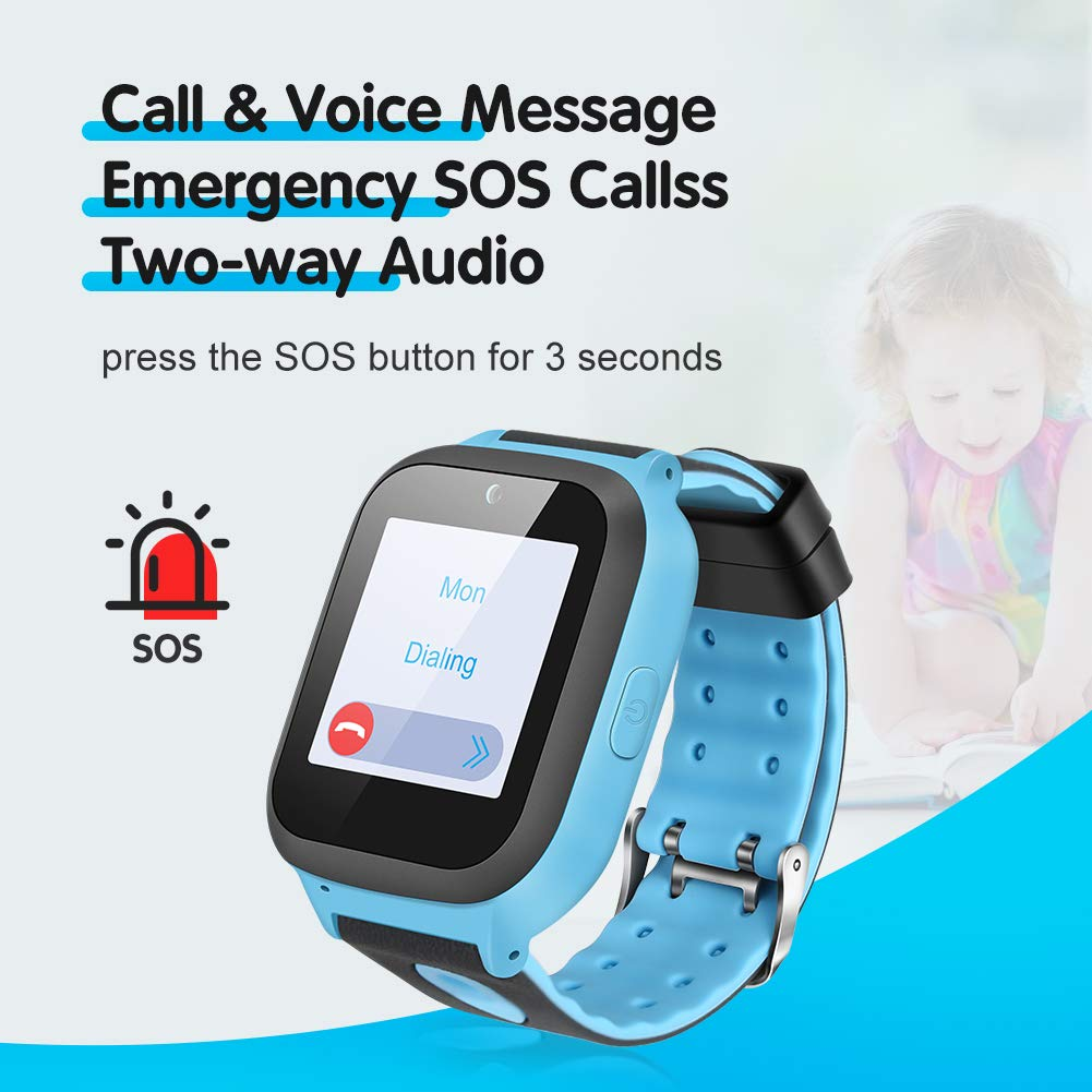 Enow Kids Smart Watch, IP67 Waterproof GPS/LBS Tracker Smartwatch with SOS Call Camera Flashlight Alarm Activity 1.44'' Touch Screen SIM Card Slot Electronic Toy for Android/iOS (Sim Card Included) by Enow (Image #3)