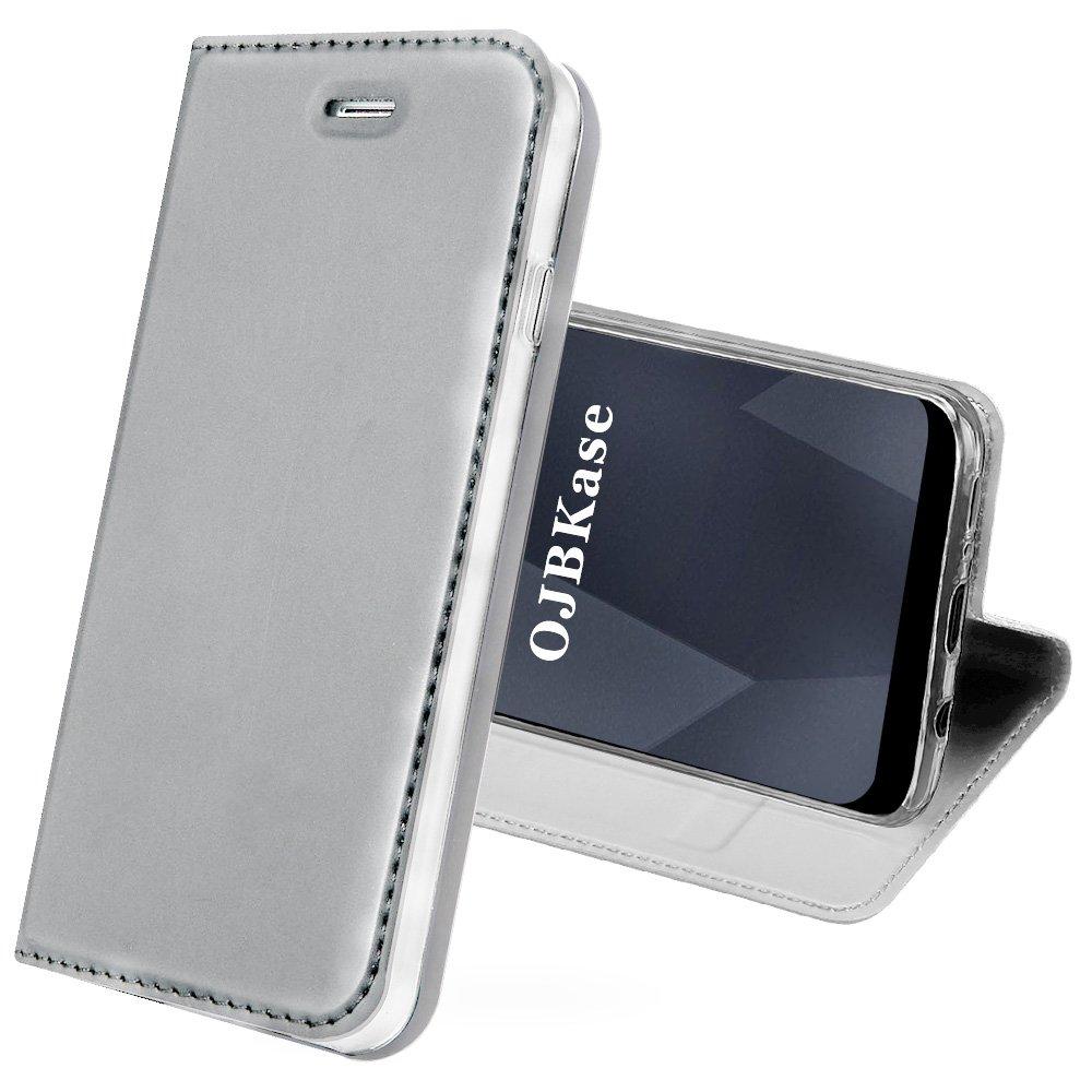 Coque Samsung Galaxy S9,OJBKase Housse Etui en cuir PU Premium Portefeuille de Protection, Livre Horizontale, Emplacements Cartes avec Fonction Support et Languette Magnétique coque de Maintien en TPU Protection Complète pour Samsung Galaxy S9 (Argent) OJB