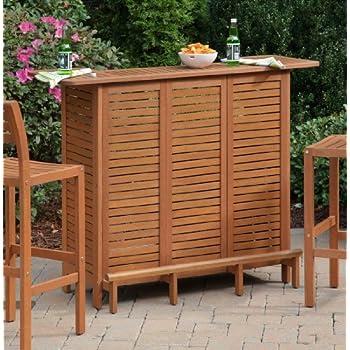 Home Styles 5661-99 Montego Bay U-Shaped Outdoor Bar Cabinet, Eucalyptus Finish