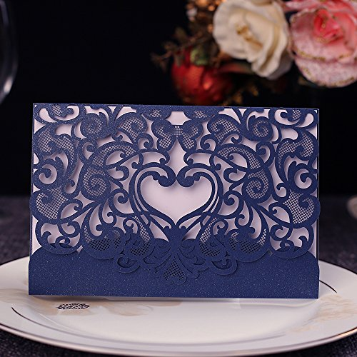 - Invitation Cards with Envelopes Laser Cut Flora Lace for Wedding Invitations, Bridal Shower, Engagement, Birthday, Bachelorette Party, Baby Shower(10 PCS) (10 Piece, Navy Blue-Heart)