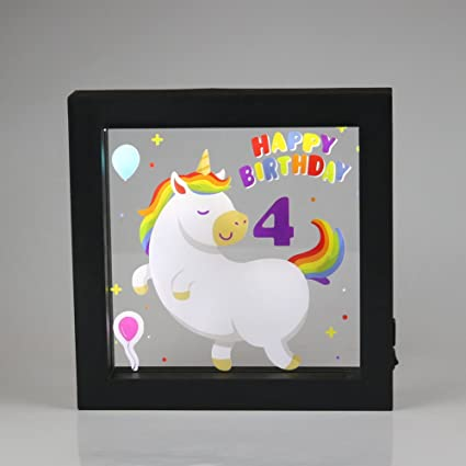 Obrecis Light Up Unicorn And Rainbow Picture Frame Sign Night Lights For Party Supplies