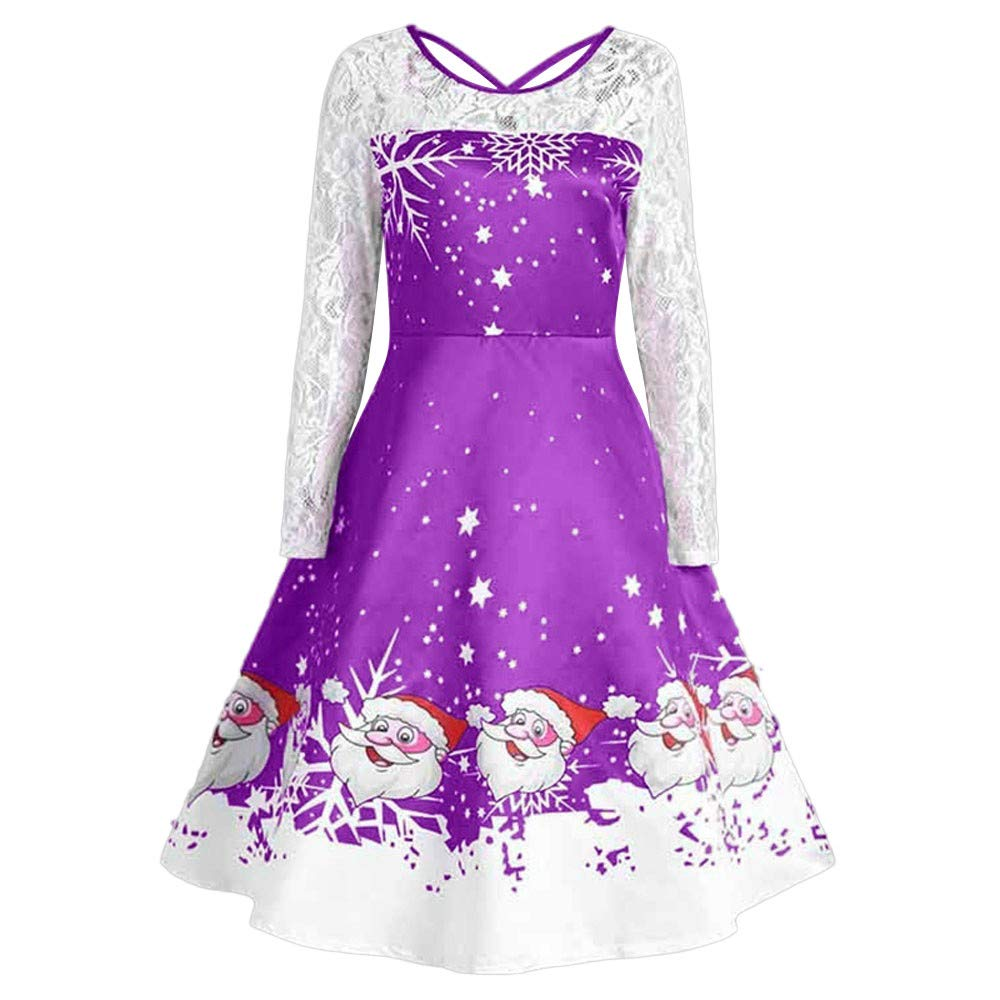 Womens Christmas Dress Fashion Lace Long Sleeve Evening Party Dress Swing Dress