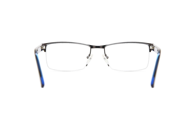 SmartBuy Collection Abbott Mens Prescription Eyeglass Frames Semi Rimles Rectangular Designer Glasses Frame