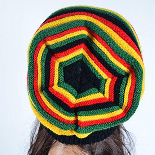 Suave Coloridas Gorros Holgado Punto Jamaica Sombrero Cap Skullies cráneo Rayas Caliente Invierno y Lana Unisex otoño MUANI Hecho wFnfqHRx