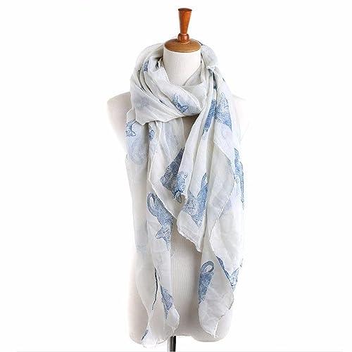 Kanpola Señoras Mujeres Gato Imprimen Bufandas Largas Envuelven la Bufanda del Mantón del Abrigo