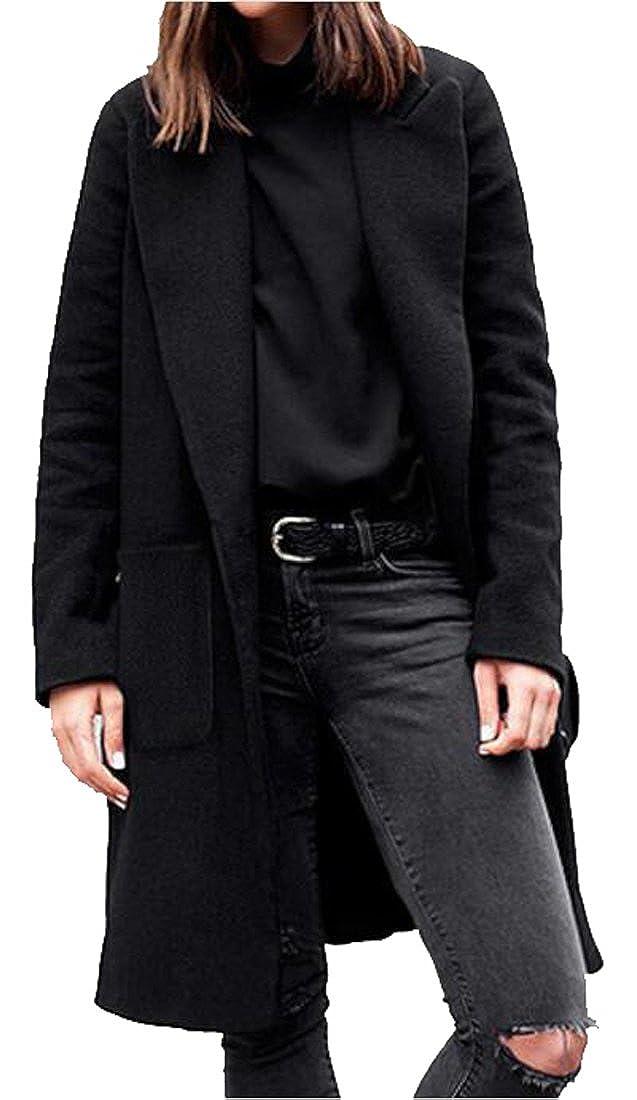 YYG-Women Winter Plus Size Lapel Long Wool Blend Pea Coat Cardigan Overcoat