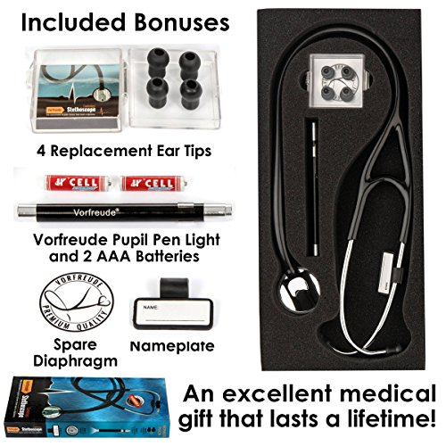 Vorfreude Cardiology Stethoscope Lifetime Replacement Guarantee (27'' Black) Bonus: Name Tag, Classic Pupil Pen Light, Batteries, Spare Diaphragm and 6 Eartips. Total Qty 1 by Vorfreude (Image #3)