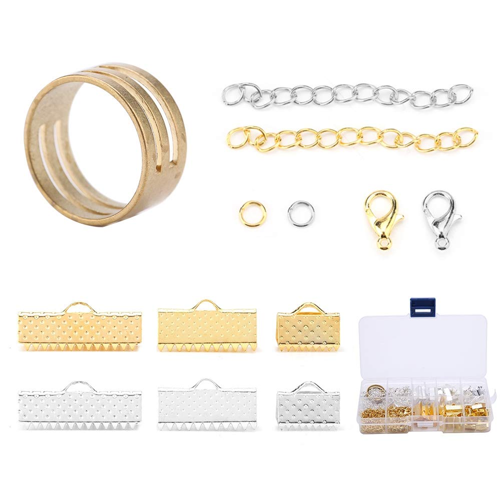 Including Ribbon Drop Ends Jump Rings Lobster Claw Extension Chain Jewelry DIY Findings Making Accessory for DIY Necklace Bracelet Jewelry Findings Making Kit