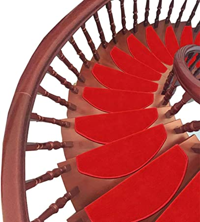 YHEGV Alfombra roja Alfombra para el hogar Escalera Antideslizante Pasadores Alfombra autoadhesiva para escaleras de Madera Maciza (Color: 5 Piezas, Tamaño: 80 * 24 + 3 cm): Amazon.es: Hogar