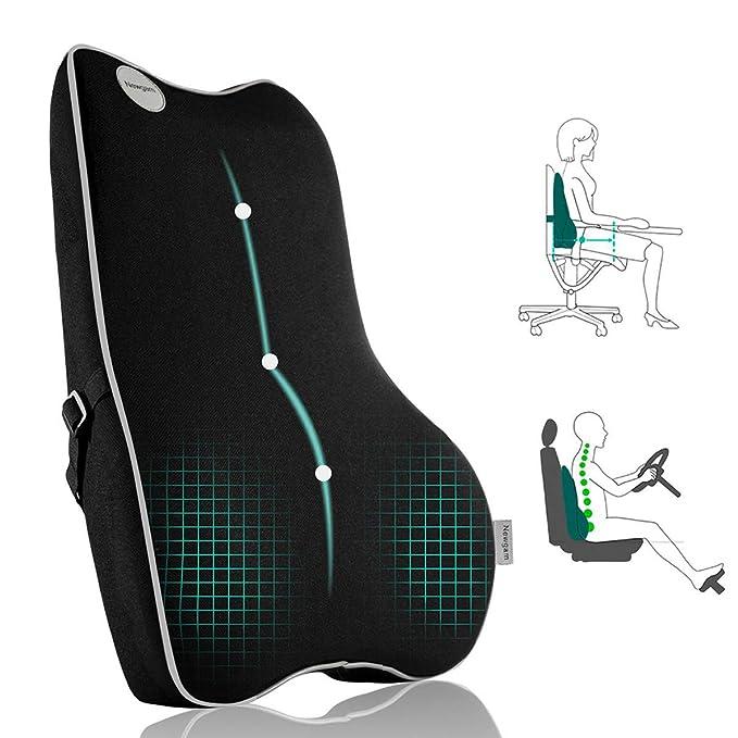 Lumbar Support Pillow, Pure Memory Foam Back Cushion Orthopedic Backrest