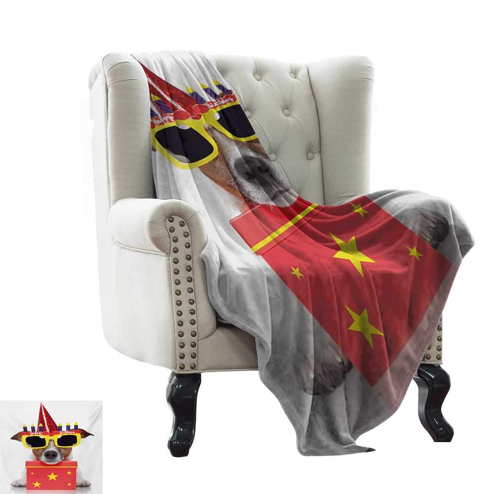 color10 50\ BelleAckerman Wearable Blanket Kids Birthday,Happy Party Dog with Sunglasses and Cone Hat Boxes Stars Image Print,Red and Yellow Indoor Outdoor, Comfortable for All Seasons 50 x60