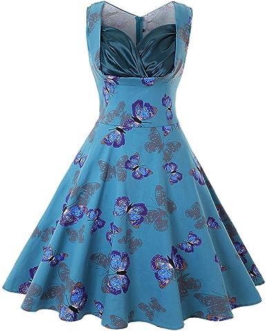 Robe mi longue Femmes V cou papillon style vintage rétro Rockabilly Soirée Robe trapèze @Bleu