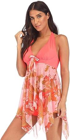 FeelinGirl Mujer Tankini de Dos Piezas Halterneck Dobladillo Asimétrico Estampado Floral Bañador Sexy Elegante Deportivo Talla Grande S-5XL