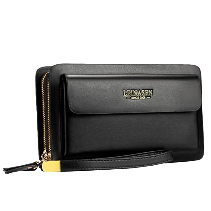 81997ca3a Amazon.com: Business Men's Clutch bag High capacity Leather Wallet Double  zipper Long Purse: Office Products