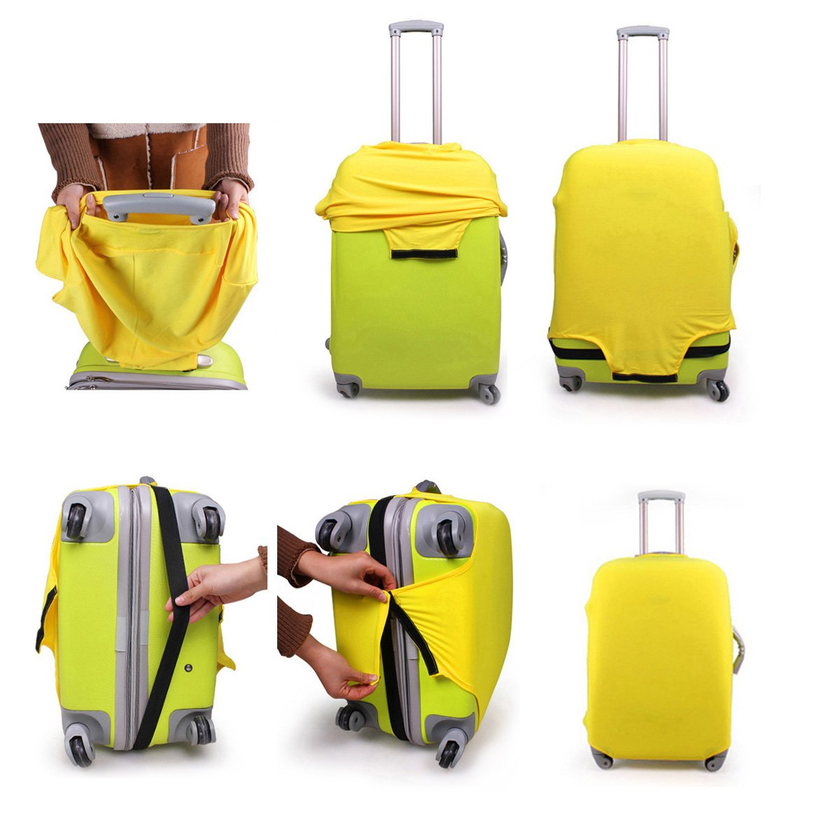 THEE Travel Luggage Elastic Cover Suitcase Washable Anti-Scratch Stretchy Protector SJJJBW1060pu-l
