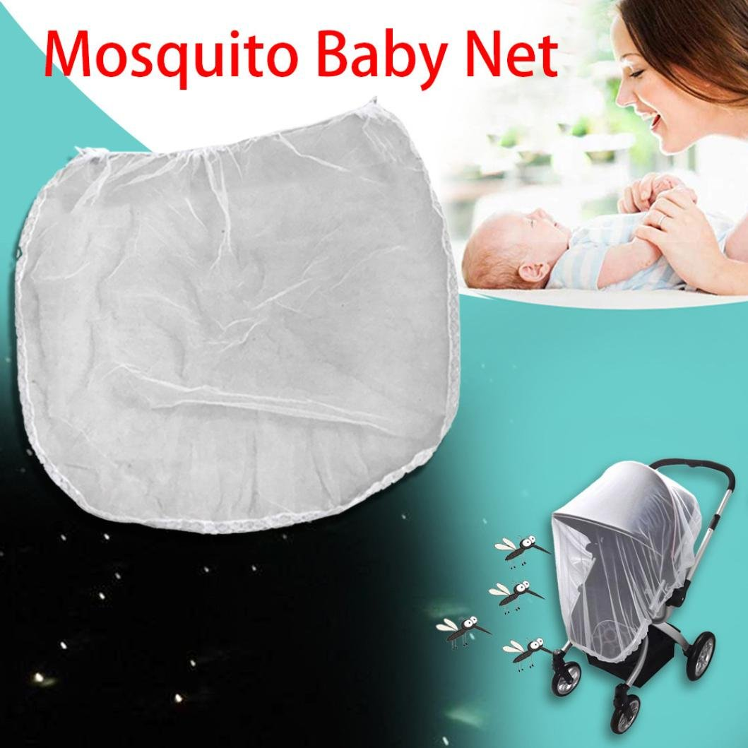 Jeeke Baby Stroller Mosquito Net,White Soft Durable Insect Shield Netting Insect Cover Carriage From (White, 30.7x32.3inch)