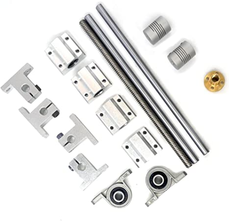 Vertical 2mm L500mm Lead Screw Linear Optical Axis Bearing Set Silver