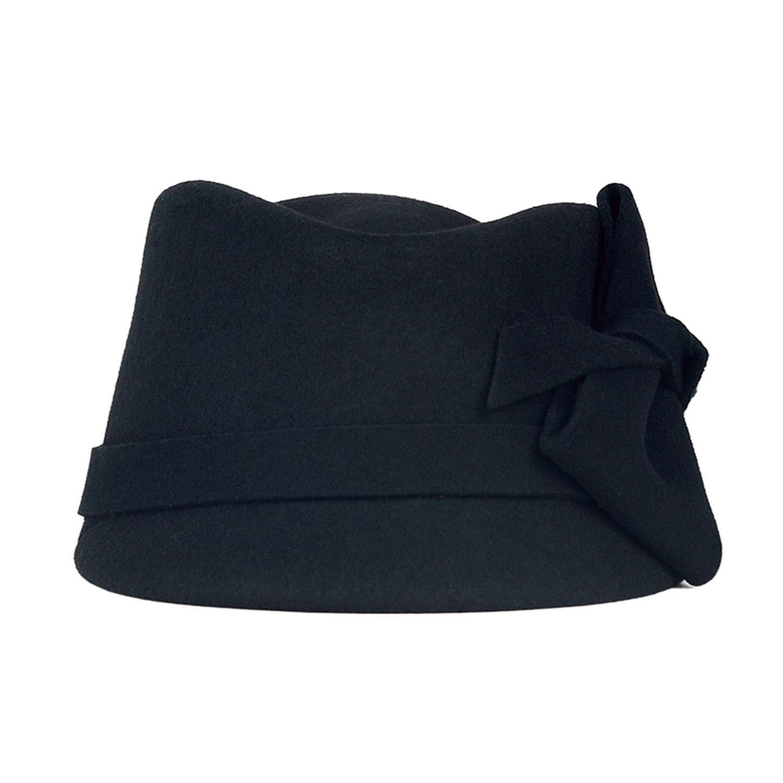 Women Vintage Wide Brim Fedora Hats 100/% Wool Felt Hat Fashion Ladies Bowknot Trilby Bowler Cap