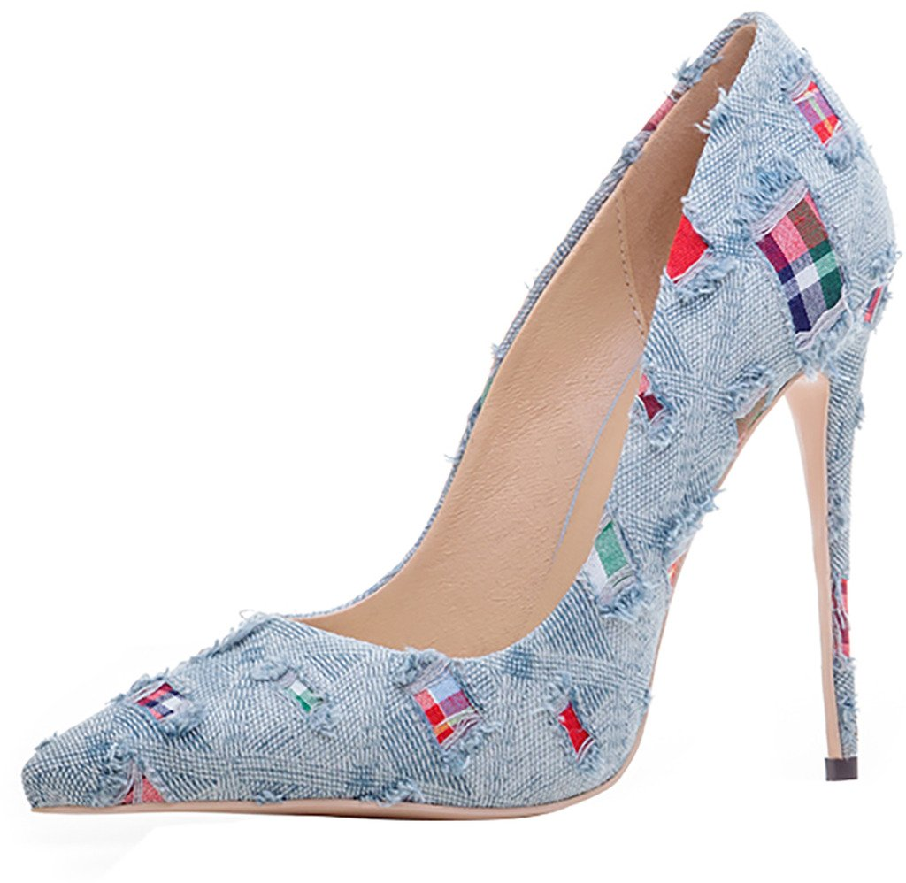 Arraysa Mujer Aaaal Estilete 12CM Canvas Ponerse Zapatos de tacón 34 EU|Azul