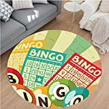 Nalahome Modern Flannel Microfiber Non-Slip Machine Washable Round Area Rug-cor Bingo Game with Ball and Cards Pop Art Stylized Lottery Hobby Celebration Theme Multi area rugs Home Decor-Round 67''