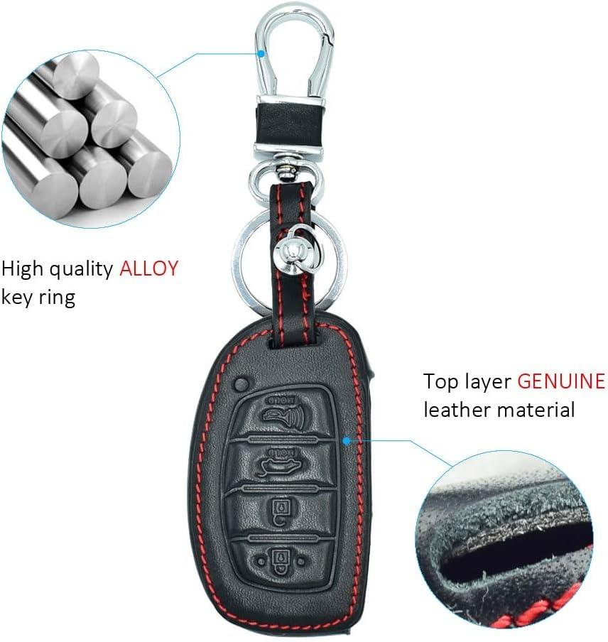 ShineBear 4 Buttons Genuine Leather Car Key Cases for Hyundai Elantra Sonata Tuscon Smart Key Keychain with Key Ring Car Styling