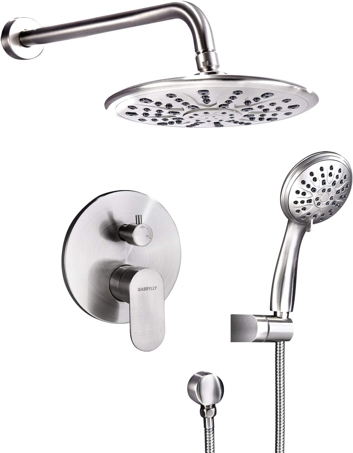 "Shower System, Wall Mounted Shower Faucet Set for Bathroom with High Pressure 8"" Rain Shower head and 3-Setting Handheld Shower Head, Brushed Nickel (Rough in Pressure Balance Valve Included) - -"