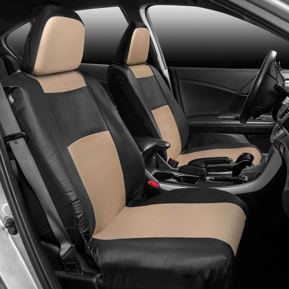Premium Microfiber Leather Full Set Front and Rear Seat Protectors for Car Truck Van and SUV BDK Croc Skin Universal Fit Seat Covers Airbag Compatible
