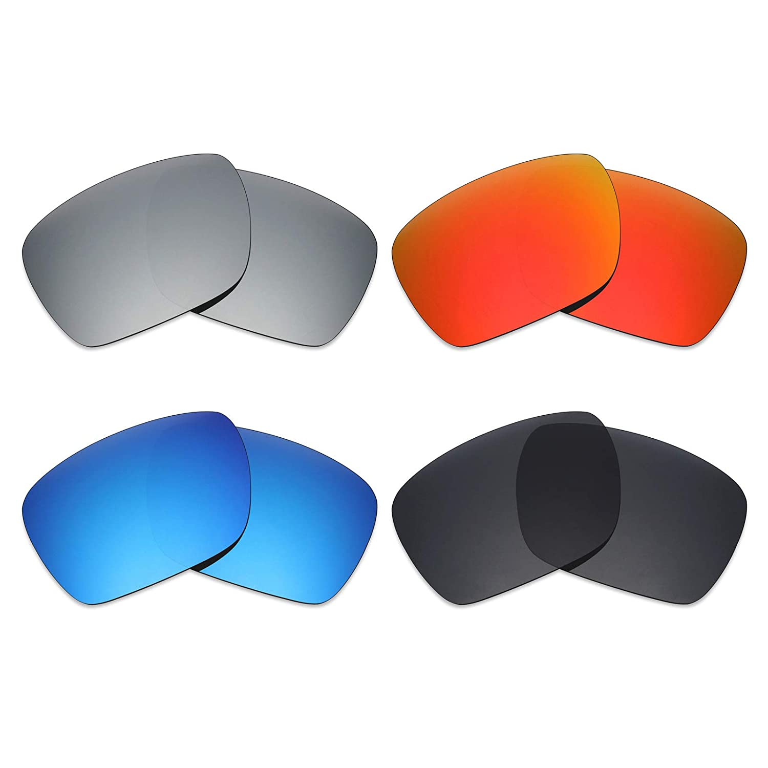 8159ba61e0 Amazon.com   Mryok 4 Pair Polarized Replacement Lenses for Oakley Dispatch  1 Sunglass - Stealth Black Fire Red Ice Blue Silver Titanium   Sports    Outdoors