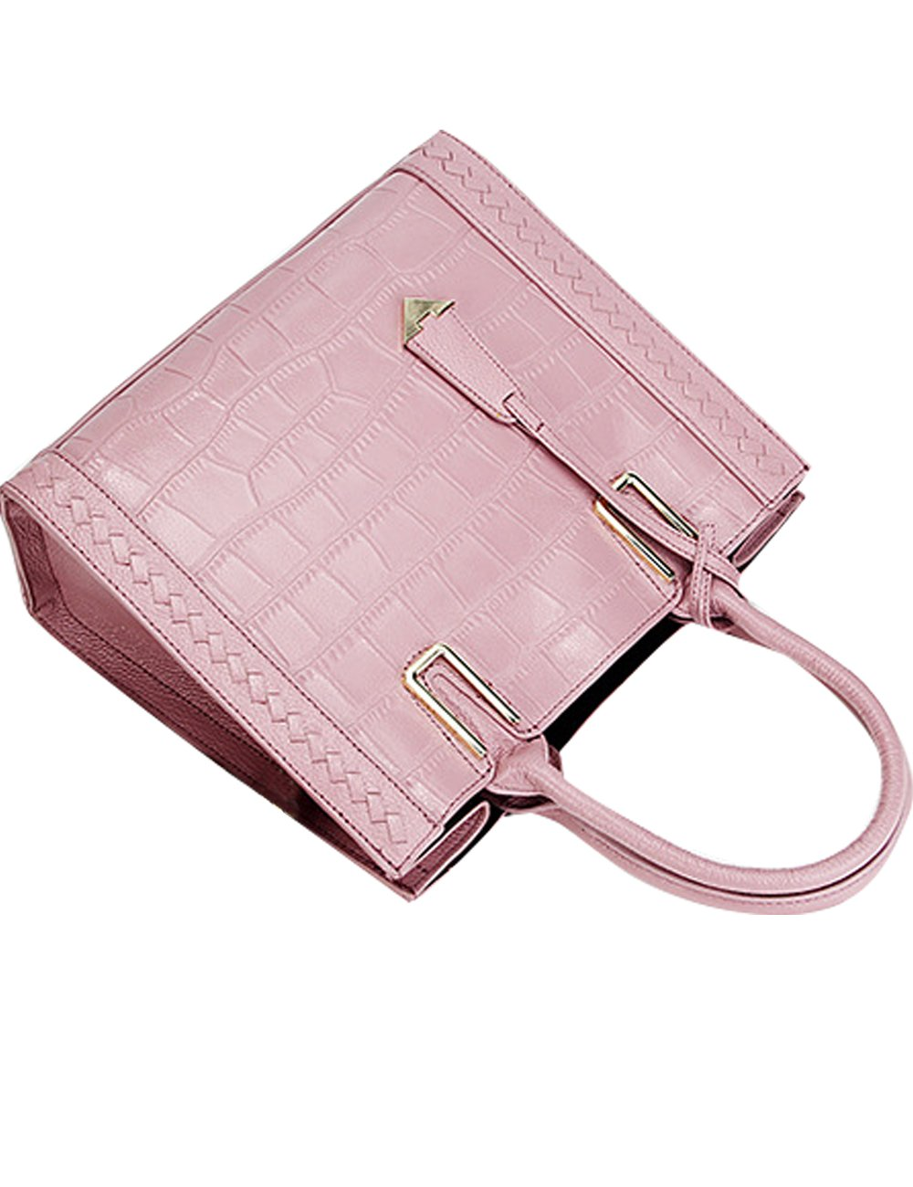 Menschwear Womens Genuine Leather Top Handle Satchel Bag Pink by Menschwear (Image #5)