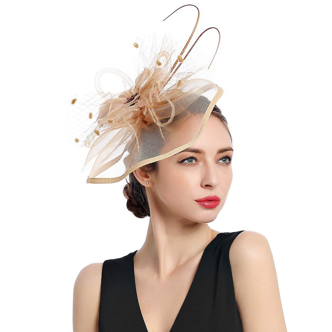 Women Fascinators Kentucky Derby Hair Clip Headband Wedding Tea Party Hat by MissCynthia