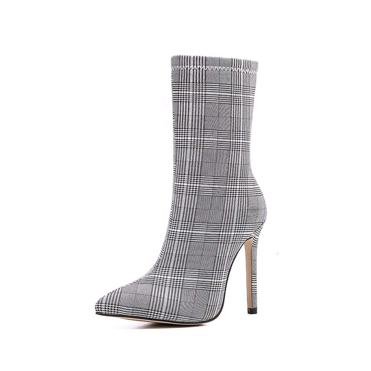 HBDLH Damenschuhe Kurze Stiefel Mit Hohen 11Cm Kariert Spitze Gut Bei Fuß Kurze Stiefel Mode Und Stiefeletten.