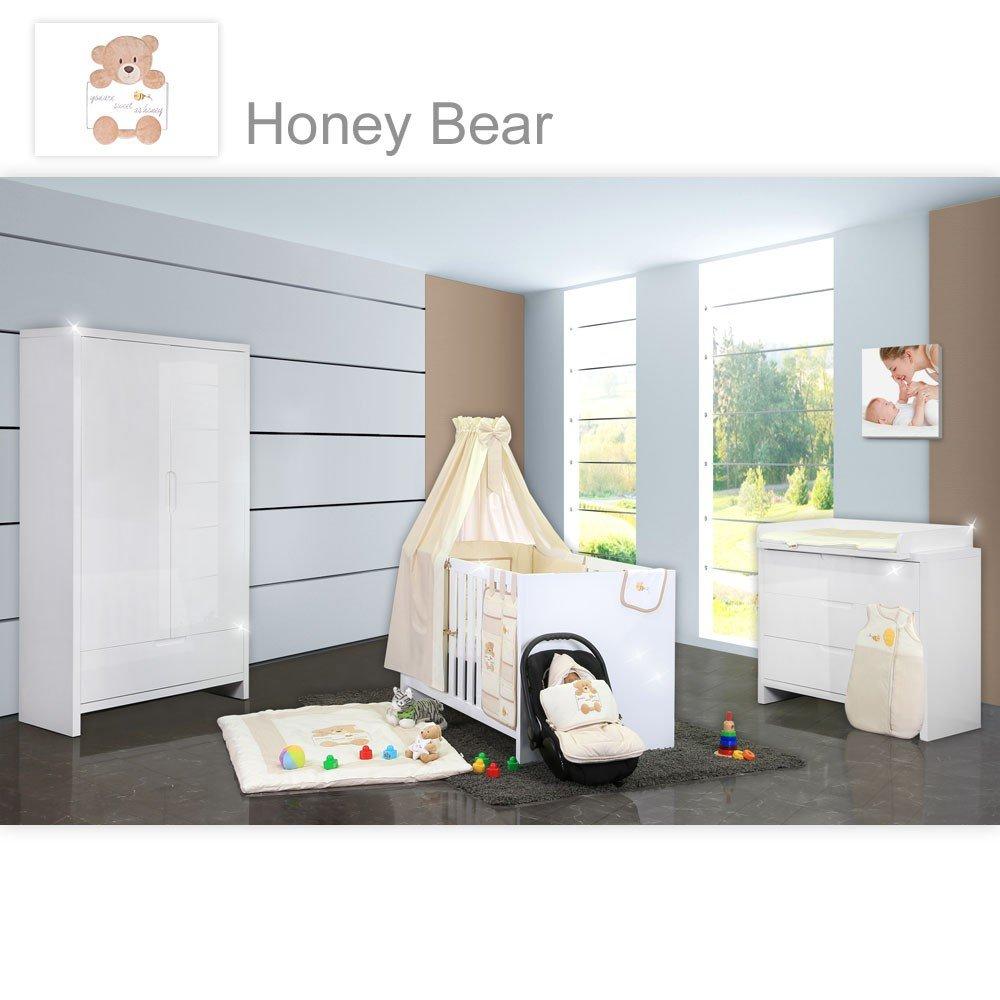 Babyzimmer Luiy Hochglanz 20-tlg. mit 2 türigem Kl. + Textilien von ...
