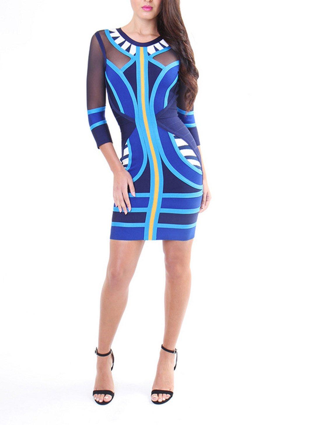 Whoinshop Women's 3/4 Sleeve Gauze Celebrity Style Bodycon Bandage Dress